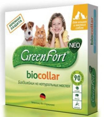 Green Fort Bio (Грин Форт Био) - Ошейник от блох и других эктопаразитов для собак мелких пород, кошек и кроликов 35 см