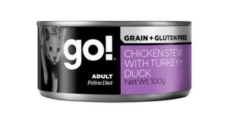 Go!Natural! (Гоу!Нэтурал!) - Консервы беззерновые с тушеной курицей, индейкой и мясом утки для кошек 100 гр