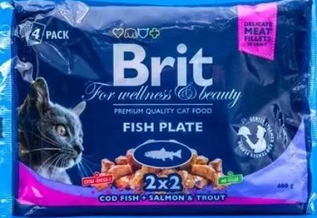 Brit Premium набор паучей д/кош Рыбная тарелка 4*100гр