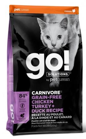 Go!Natural! CARNIVORE 4 Meat Cat Recipe (Гоу!Нэтурал! КАРНИВОР 4 Мит Кэт Ресайп) 46/18 - Корм для кошек всех пород и возрастов (БЕЗЗЕРНОВОЙ, индейка, курица, лосось, утка) 3,63 кг
