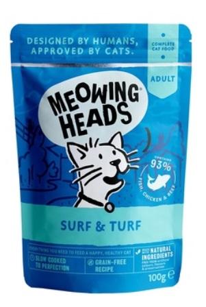 Meowing Heads - Паучи для кошек и котят с сардинами, тунцом, курицей и говядиной Все лучшее сразу 100 гр