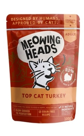 Meowing Heads - Паучи для кошек и котят с индейкой, говядиной и курицей Аппетитная индейка 100 гр
