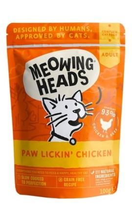 Meowing Heads - Паучи для кошек и котят с курицей и говядиной Куриное наслаждение  100 гр