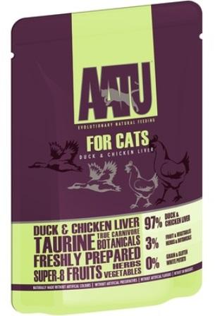AATU - Паучи для кошек Утка и Куриная Печень 85 гр