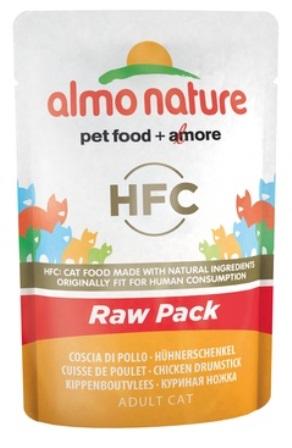 Almo Nature Raw Pack - Паучи для кошек Куриные бедрышки 55 гр