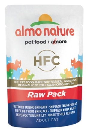 Almo Nature Raw Pack - Паучи для кошек Филе полосатого тунца 55 гр