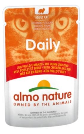 Almo Nature Daily Menu (Алмо натюр Дейли меню) - Паучи для кошек Меню с Курицей и Говядиной 70 гр
