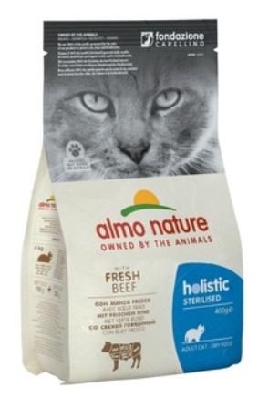 Almo Nature Sterilised (Алмо Натюр Стиралайзд) - Сухой корм для кастрированных кошек с говядиной и рисом 0,4 кг