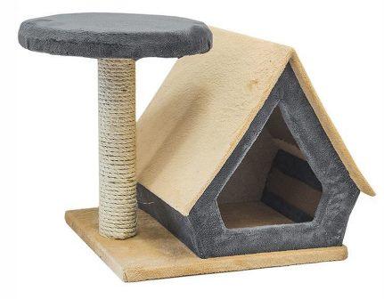 Домик-когтеточка СМАРТ Избушка, с полкой (сизаль, размер 39*31*34,5 см)