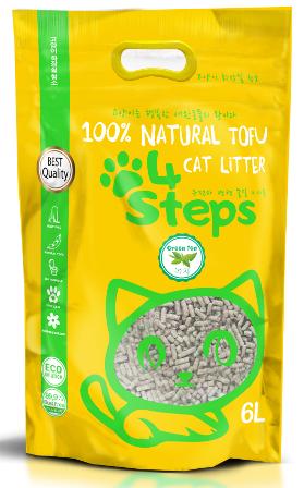4Steps - Наполнитель Tofu комкующийся Зеленый чай 36 л
