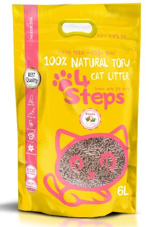4Steps - Наполнитель Tofu комкующийся Персик 36 л