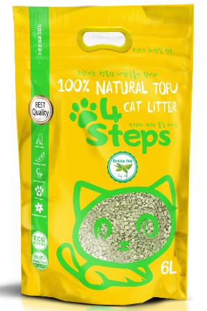 4Steps - Наполнитель Tofu краш комкующийся Зеленый чай 6 л
