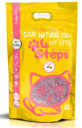 4Steps - Наполнитель Tofu краш комкующийся Персик 6 л