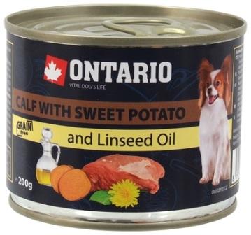 Ontario - Консервы для собак: телятина и батат 200 гр