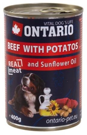Ontario - Консервы для собак: говядина и картофель 400 гр