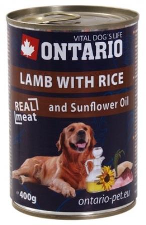 Ontario - Консервы для собак: ягненок и рис 400 гр