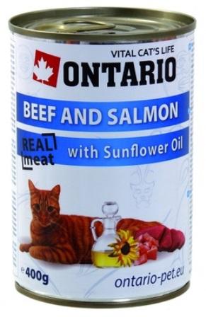 Ontario - Консервы для кошек: говядина и лосось 400 гр
