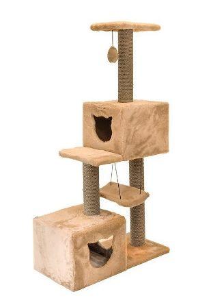 Комплекс-когтеточка Дарэлл, серия Джут 95 бежевый квадратный 3-х уровневый с 2мя домиками и гамаком 72*36*127 см