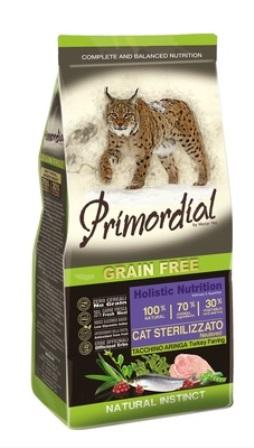 PRIMORDIAL - Беззерновой корм для стерилизованных кошек с индейкой и сельдью 6 кг