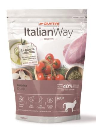 ITALIAN WAY - Беззерновой корм для кошек с чувствительным пищеварением со свежей уткой 0,4 кг