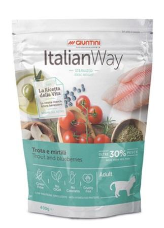 ITALIAN WAY - Беззерновой корм для кошек со свежей форелью и черникой,контроль веса и профилактика аллергии 0,4 кг