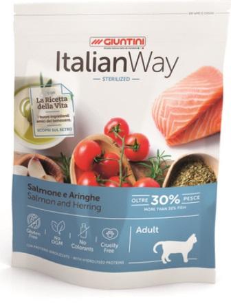 ITALIAN WAY - Безглютеновый корм для стерилизованных кошек с лососем и сельдью 1,5 кг