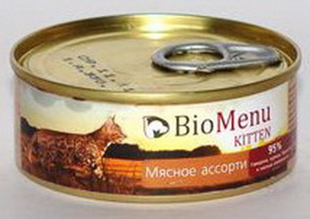 BioMenu Kitten (БиоМеню Киттен) - Консервы для котят Мясное ассорти 100 гр