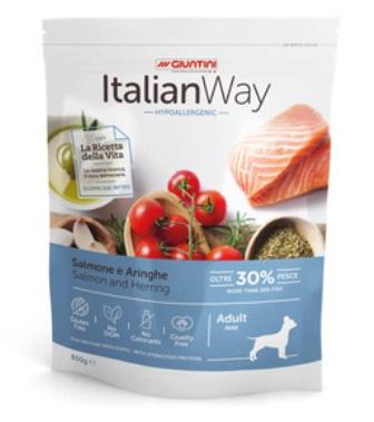 ITALIAN WAY - Безглютеновый корм для собак малых пород с чувствительной кожей, лосось и сельдь  1,5 кг