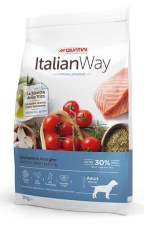 ITALIAN WAY - Безглютеновый корм для собак с чувствительной кожей, лосось и сельдь  3 кг