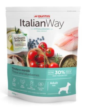 ITALIAN WAY - Беззерновой корм для собак малых пород со свежей форелью и черникой,контроль веса и профилактика аллергии 8 кг