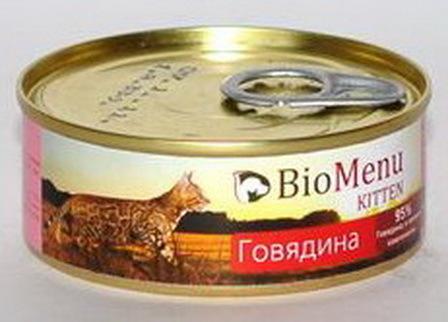BioMenu Kitten (БиоМеню Киттен) - Консервы для котят Говядина 100 гр