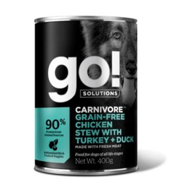 Go!Natural! (Гоу!Нэтурал!) - Консервы беззерновые с тушеной курицей, индейкой и мясом утки для собак 400 гр