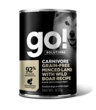 Go!Natural! (Гоу!Нэтурал!) - Консервы беззерновые с рубленым мясом ягненка и дикого кабана для собак 400 гр
