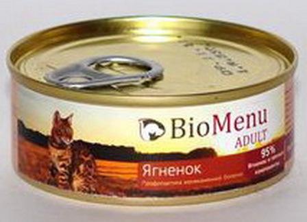 BioMenu Adult (БиоМеню Эдалт) - Консервы для кошек Ягненок 100 гр