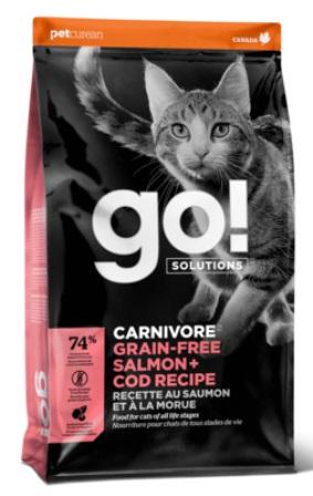 Go!Natural! CARNIVORE Salmon+Cod Cat Recipe (Гоу!Нэтурал! КАРНИВОР Салмон+Код Кэт Ресайп) 42/16 - Корм для кошек всех пород и возрастов (БЕЗЗЕРНОВОЙ, лосось и треска) 3,63 кг