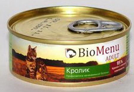 BioMenu Adult (БиоМеню Эдалт) - Консервы для кошек Кролик 100 гр