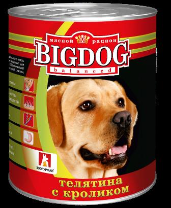 BIG DOG (Биг Дог) - Консервы для собак Телятина с кроликом 850 гр