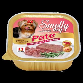 Смолли Дог - Ламистер для собак Телятина с языком (патэ) 100 гр