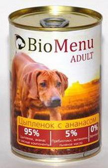 BioMenu Adult (БиоМеню Эдалт) - Консервы для собак Цыпленок с ананасами 410 гр
