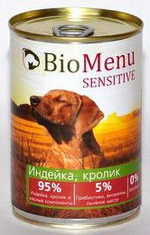 BioMenu Sensitive (БиоМеню Сенситив) - Консервы для собак Индейка-кролик 410 гр