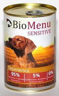 BioMenu Sensitive (БиоМеню Сенситив) - Консервы для собак Перепелка 410 гр
