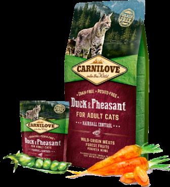 Carnilove - Сухой корм для кошек Контроль вывода шерсти, Утка и Фазан 400 гр