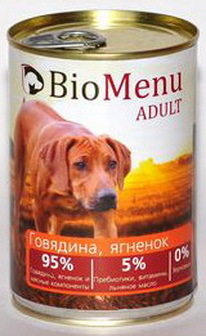 BioMenu Adult (БиоМеню Эдалт) - Консервы для собак Говядина-ягненок 410 гр