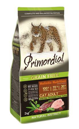 PRIMORDIAL - Беззерновой корм для кошек утка и индейка 2 кг