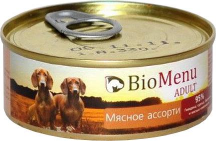 BioMenu Adult (БиоМеню Эдалт) - Консервы для собак Мясное ассорти 100 гр