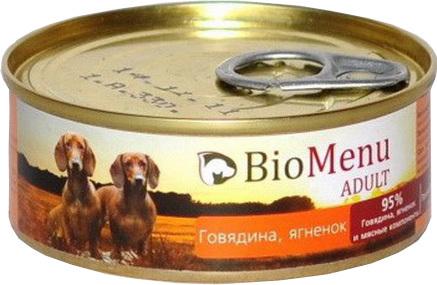 BioMenu Adult (БиоМеню Эдалт) - Консервы для собак Говядина-ягненок 100 гр