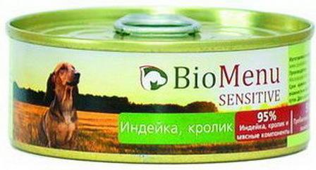 BioMenu Sensitive (БиоМеню Сенситив) - Консервы для собак Индейка-кролик 100 гр
