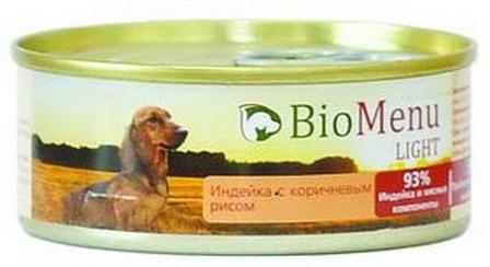 BioMenu Light (БиоМеню Лайт) - Консервы для собак Индейка с коричневым рисом 100 гр