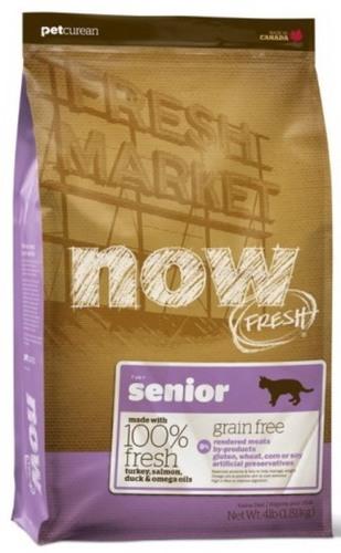 Now!Fresh! Grain Free Senior Cat Recipe 30/14 (Нау!Фреш! Грейн Фри Сеньор Кэт Ресайп 30/14) - Корм для пожилых кошек всех пород (БЕЗЗЕРНОВОЙ, индейка, утка и овощи) 1,82 кг