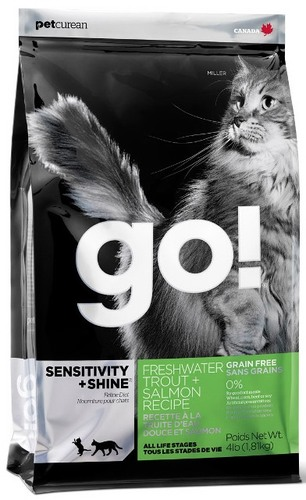 Go!Natural! Sensitivity Grain Free Fish Cat Recipe 48/18 (Гоу!Нэтурал! Сенситив Грейн Фри Фиш Ресайп 48/18) - Корм для кошек всех пород и возрастов (БЕЗЗЕРНОВОЙ, форель и лосось) 3,63 кг